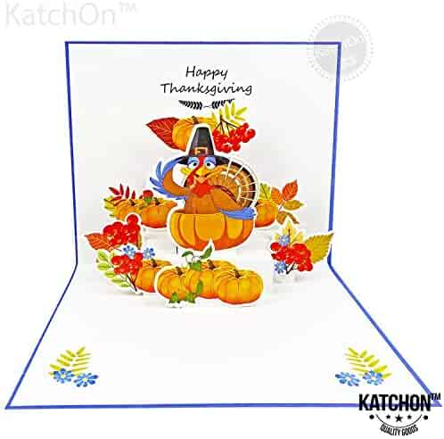 KatchOn 3D Thanksgiving Greeting Card - Pack of 1 | Happy Turkey with Maple and Pumkin 3D Look - Gift and Present for Kids and Family | Envelope Included