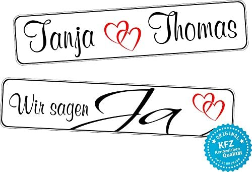 Liebesmasche Original Kfz Kennzeichen Hochzeit Autoschilder Hochzeitsschilder Namensschilder Wir Sagen Ja 0217 Auto