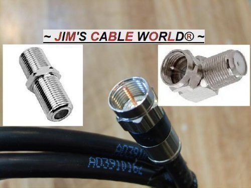 JIM'S CABLE WORLD HDTV Starter Kit Including one (90° Degree Right Angle Adapter) One (F-81 Barrel) Plus One (2' Ft) Black Digital HD Quality 75 Ohm RG~6 Tri-Shield Coaxial Cable Made in The USA