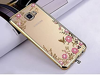 size 40 05b98 8cc69 Loxxo® Silicone Shockproof Soft TPU Transparent Auora Flower Back Case with  Sparkle Swarovski Crystals for Samsung Galaxy J7 Max (Gold)