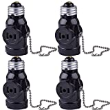 SerBion 4Pack Black E26 the US Standard Screw Light Holder,E26 to E26 Lamp Holder with 2-Prong Cord Outlet Socket Adapter, Pull Chain Switch,Convenient and Practical (4 Pack)