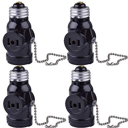 SerBion 4Pack Black E26 the US Standard Screw Light Holder,E26 to E26 Lamp Holder with 2-Prong Cord Outlet Socket Adapter, Pull Chain Switch,Convenient and Practical (4 Pack) by SerBion
