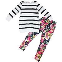 Jastore Kids Girls Clothing Sets Long Sleeve Stripe Shirt+Floral Pants Outfits