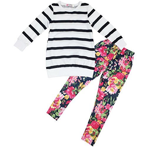 Jastore Kids Girls Clothing Sets Long Sleeve Stripe Shirt+Floral Pants Outfits (6-7 Years)