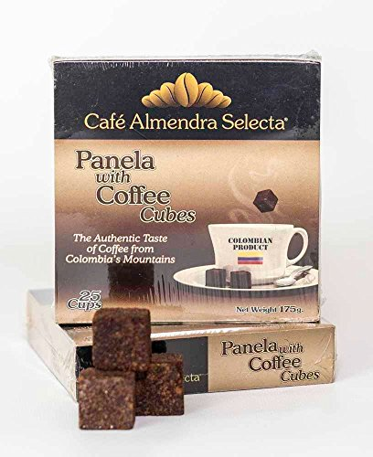 Instant Coffee Cubes Flavored with Panela (unrefined, organic, brown sugar), 25 cubes per box, product of Colombia made with Arabica coffee