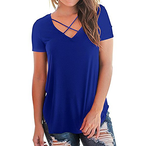 Lace Criss Cross Front Bodystocking - JESPER Women Casual Daily Short Sleeved V Neckline T-Shirt Solid Criss Cross Front Tops Blue