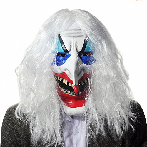 Scary Latex Full Face Cosplay Clown Long Hair Mask Horror Masquerade Adult Ghost Mask Halloween Costumes Fancy Dress Party Props As Pic -