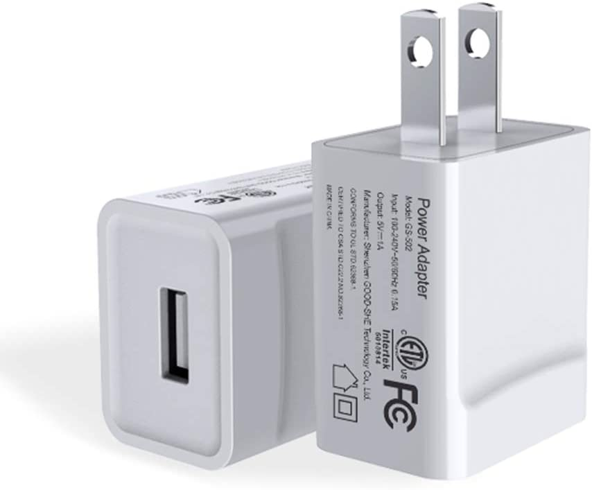 USB Wall Charger, Atizzy Charger Block 2 Pack 1A Universal Portable Travel Power Adapter Plug Charging Block High Speed Compatible with iPhone iPad Samsung HTC LG iPod Nokia Travel Office Home Use