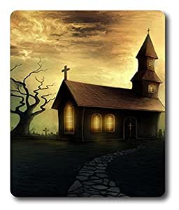 gel wrist mouse pad Haunted Church Art PC Custom Mouse Pads / Mouse Mats Case Cover