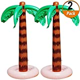 Inflatable Palm Tree Decoration, 2 Pack Jumbo Coconut Trees Beach Backdrop Favor Tropical Blow Up Hawaiian Summer Party Decor for Hawaiian Luau Party Decoration