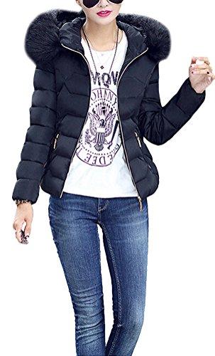 Brinny Femme Fille Veste Manteau Parka Doudoune Blouson Hiver Chaud Veste Manche Long Jacket Hoodie Capuche Fourrure faux Rembourr Noir