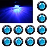 "Purishion 10x 3/4"""" Round LED Clearence Light Front Rear Side Marker Indicators Light for Truck Car Bus Trailer Van Caravan Boat, Taillight Brake Stop Lamp (12V, Blue)"