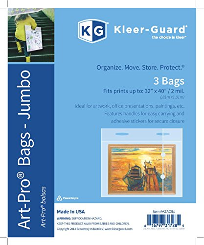 Plastic Portfolio Bags w/ Reinforced handles & closures. Help keep Paintings, Photos, School Projects, etc. dust free & dry. Heavy 2 mil plastic. Fits artwork up to 32''x40'' • 3/pk by Kleer-Guard