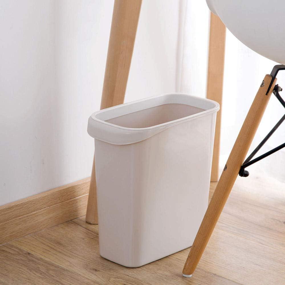 BATHROOM Accesorios de baño Bote de basura estrecho rectangular con anillo de oficina Hueco de plástico Cesta de papel pequeña Bote de basura de cocina para el hogar 28.2 * 27.2 cm