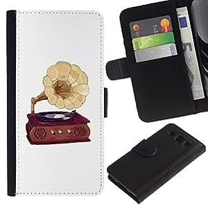 ARTCO Cases - Samsung Galaxy S3 III I9300 - Retro Vintage Gramophone Record Player - Cuero PU Delgado caso Billetera cubierta Shell Armor Funda Case Cover Wallet Credit Card