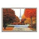 Tangletown Fine Art Otoño en París Pareja Galería Wrap Canvas, naranja / marrón