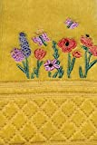 Celebrate Spring Together Embroidery Floral Fence Decorative Cotton Tip Towels, Pack of 2, Yellow