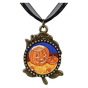 Chicforest Bronze Retro Style Halloween carved Jack O lantern pumpkin Rose Flower Pendant