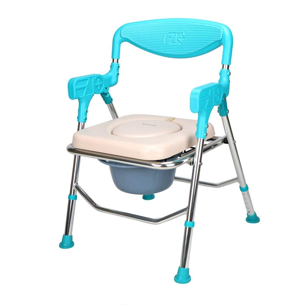 Beauty Aluminum Alloy Folding Shower Stool,5 Height Adjustable Potty Chair for Elderly Disabled Accessible Shower Seats Stool