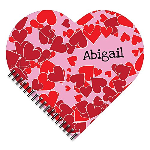 - Scattered Heart Personalized Patterned Heart-Shaped Spiral Notebook/Journal, 120 specialty lined or sketch pages, durable laminated cover, and wire-o spiral. Made in the USA.