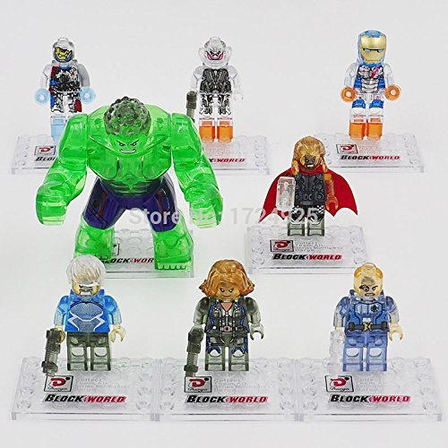 [8 pieces / lot Building Blocks Super Heroes Avengers Crystal Clear Ultron Minifigures Iron Man Hulk Bricks Mini] (Red Crayon Tank Dress Costume)