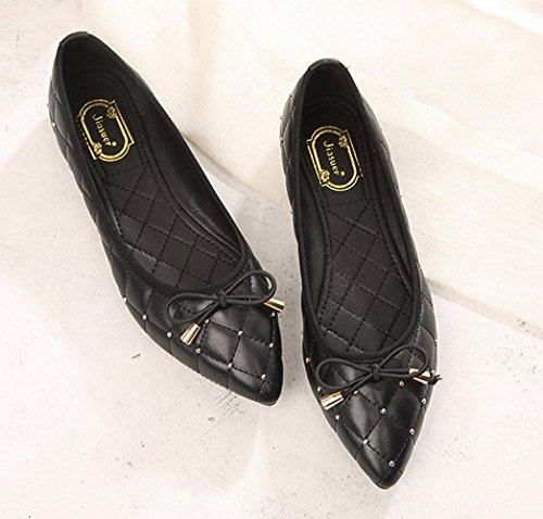Women's Flat Bows with Shoes 7 Toe Black CHICKLE Pointed d6xqtt
