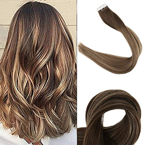 Fshine Tape In 12 Inch Extentions Short Hair Tape On Brazilina Remy Extensions Straight Color #4 Brown Fading To #24 Honey Blonde Highlight #4 Tape In Human Hair For Women 20Pcs 30 Gram