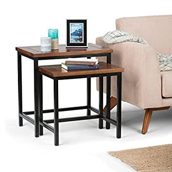 Simpli Home 3AXCSKY-06 Skyler Solid Mango Wood and Metal 25 inch wide Modern Industrial Nesting 2 Pc Side Table in Dark Cognac Brown