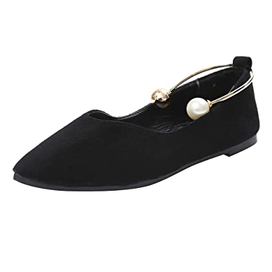 e9ea561ce99 Women Pointed Toe Flat with Shoes Shallow Mouth All-Match Side Empty Sandals  Duseedik Black