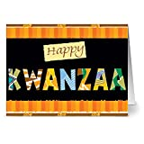 24 Holiday Note Cards - Happy Kwanzaa - Blank Cards - Green Envelopes Included
