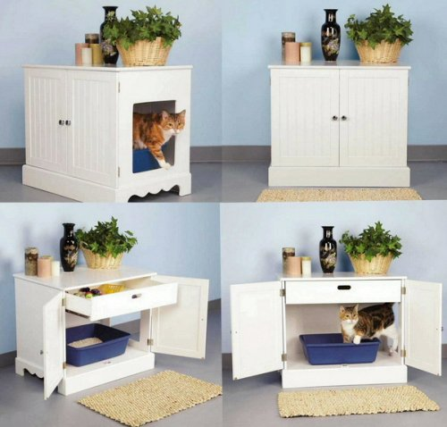 Amazon.com : Pet Studio Litter Box Cabinet for Pets, Newport White : Cat  Litter Box Furniture : Pet Supplies