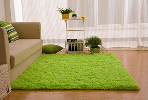 Ultra Soft 4.5 Cm Thick Indoor Morden Shaggy Area Rugs Pads, New Arrival Fashion Color [Bedroom] [Livingroom] [Sitting-room] [Rugs] [Blanket] [Footcloth] for Home Decorate. Size: 2.5 Feet X 5 Feet (green)