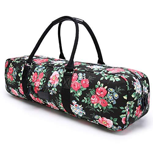 Boence Yoga Bag, Printed Canvas Large Yoga Mat Tote Bag Sport Gym Storage Bag - Size 27