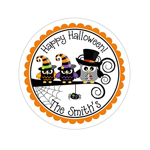 Personalized Customized Halloween Party Favor Thank You Stickers - Owl Family - Round Labels - Choose Your Size]()