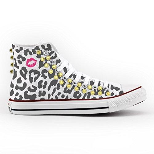 1e595bc3b869f ... Converse Personalizzate con borchie All Star Alta - scarpe artigianali  - Leopardo Multicolor