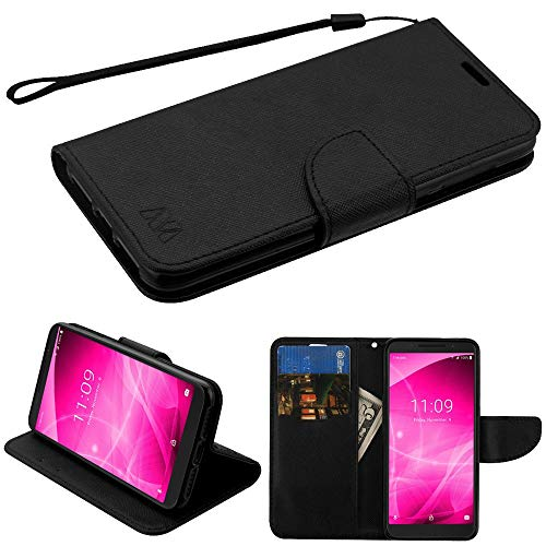 """T-Mobile REVVL 2 (5.5"""") Wallet Case with Tempered Glass Screen Protector, JoJoGold Textured Vinyl Flip Cover Folio with Magnetic Flap, Wrist Strap, and Kickstand - Black"""