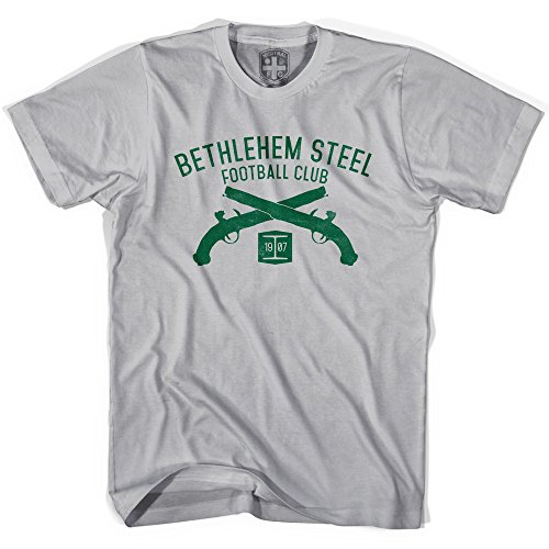 fan products of Bethlehem Steel Football Club Pistols T-shirt, Cool Grey, Adult X-Large