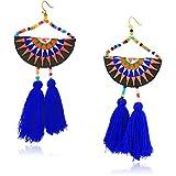 Panacea Blue Tassel Embroidery Statement Drop Earrings