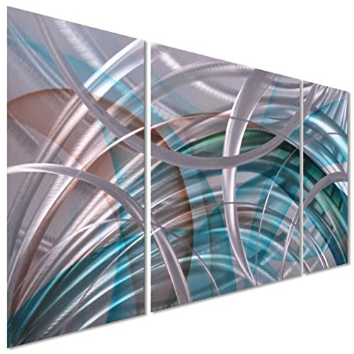 "Comics+3D+Night+Lamp+ Products : Pure Art Abstract Arcs - Metal Wall Art Decor, Hanging Sculpture, 3 Aluminum Panels 50""x24"" – Silver with Reds, Greens and Blue's Perfect for your Home, Business or Office."