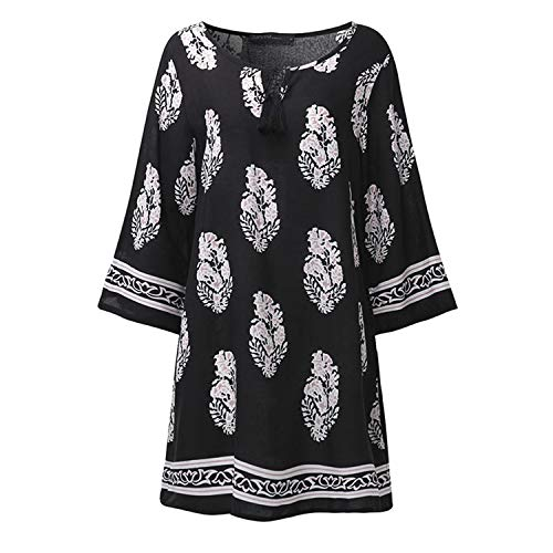 Floral Print 3/4 Sleeve Retro Lace-Up V Neck Tassel Loose Casual Mini Dress Black XL