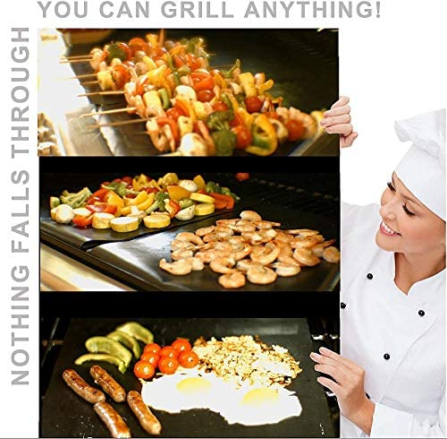 showsing Tapis de Barbecue Tapis de Cuisson Grill, Tapis de Grill Antiadhésif BBQ Feuilles de Cuisson Réutilisable et Résistant pour Barbecue Thicken 25mm3Pcs