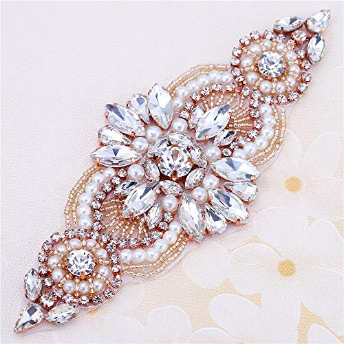 (Rose Gold Small Wedding Belts Beaded Crystal Rhinestone Appliques - Hot Fix or Sewing on-1 Piece(5.4