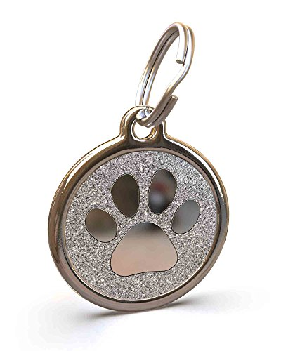 (UNLEASHED.DOG Customizable Engraved Cat/Dog ID Tag - Stainless Steel with Paw Print Glitter Enamel Inlay - Silver | Small)