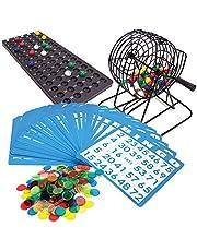 Bingo Game Set Deluxe 6-Inch Bingo Game with Colored Balls, 300 Bingo Chips and 50 Bingo Cards