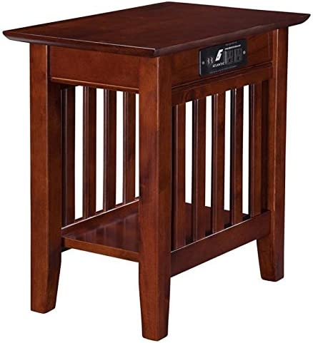 Pemberly Row Charger Chair Side Table in Walnut