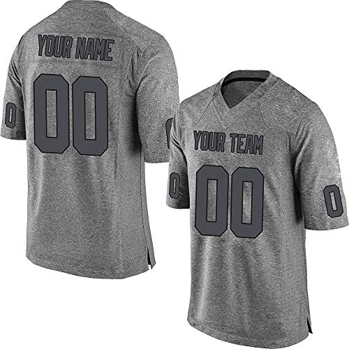Custom Men's Gray Gridiron Mesh Football Game Jersey Stitched Team Name and Your Numbers,Charcoal-Black Gridiron Size XL ()