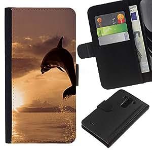 KLONGSHOP // Tirón de la caja Cartera de cuero con ranuras para tarjetas - Dolphin Sol - LG G3 //