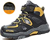 Kids Hiking Shoes Trekking Walking Snow Boots Antiskid Steel Buckle Sole Waterproof Winter Outdoor Climbing Cotton Sneaker.HS-8032-Y-33,1.5 M US Lillte Kid(Foot Length=21.5cm),Yellow