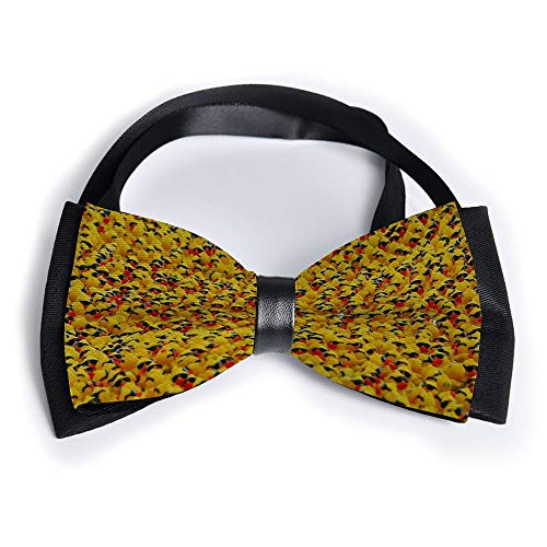 Pure Natural Cute Rubber Yellow Ducky with Sunglasses Adjustable Mens Silk Square Bowtie Gift Luxurious Pre-tied Satin Tuxedo Bow Ties for Men Unisex Birthday Party