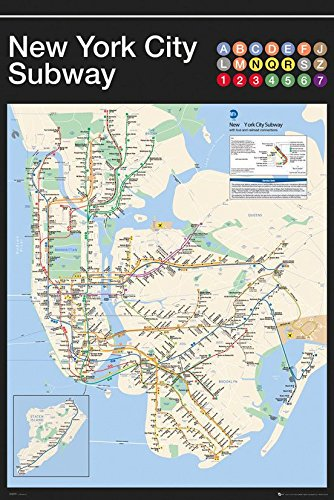 Printed Nyc Subway Map.Amazon Com New York City Subway Map 24 X36 Art Print Poster